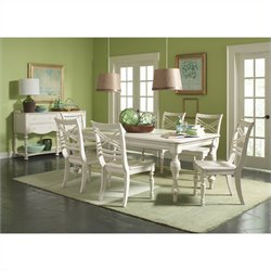 Riverside Furniture Placid Cove 7 Piece Rectangular Dining Table Set in Honeysuckle White