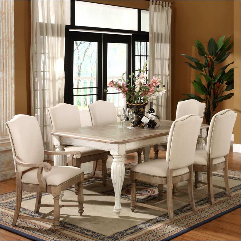 Coventry 7 Piece Dining Table Set in Weathered Driftwood and Dover  White