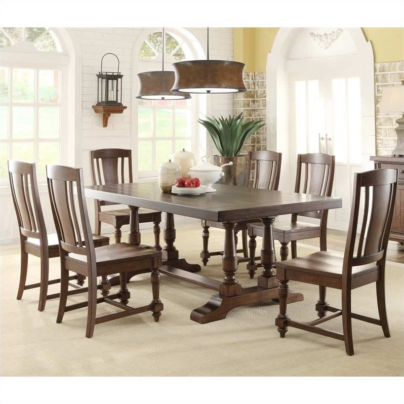 Newburgh 7 Piece Dining Table Set in Antique Ginger