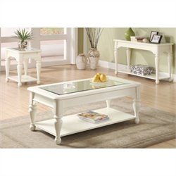 Riverside Essex Point 3 Piece Accent Table Set in Shores White