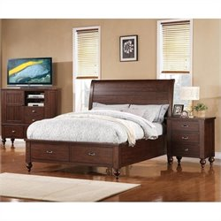 Riverside Castlewood Queen Sleigh Bed with Storage in Warm Tobacco