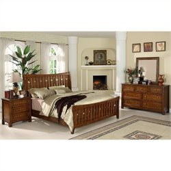 Riverside Craftsman Home 4 Piece Queen Bedroom Set in Americana Oak