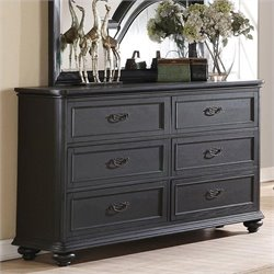 Riverside Furniture Belmeade Six Drawer Dresser in Raven Black