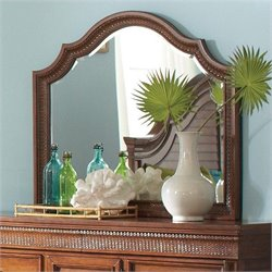 Riverside Furniture Windward Bay Arch Landscape Mirror in Warm Rum