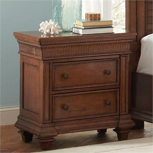 Riverside Furniture Windward Bay Two Drawer Nightstand in Warm Rum