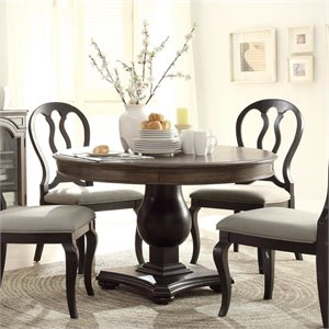 Riverside Furniture Belmeade Round Dining Table in Oak and Black