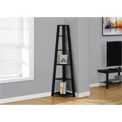 5 Shelf Corner Etagere in Black