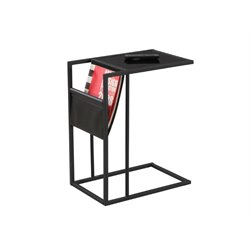 Trent Home Metal Side Table with Magazine Rack in Black