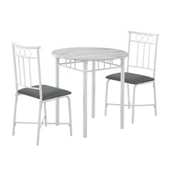 3 Piece Metal Dining Set in White
