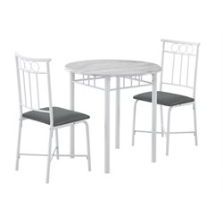 Monarch 3 Piece Metal Dining Set in White