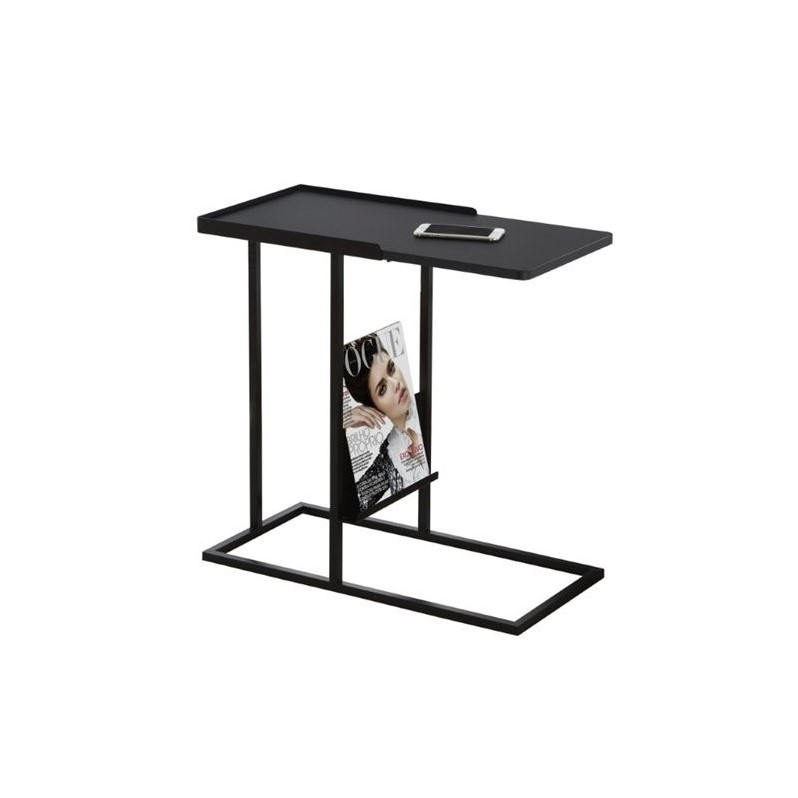 Metal Side Table With Magazine Rack In Black I 3097