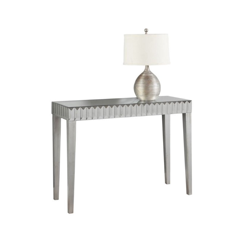 Mirrored Console Table In Brushed Silver