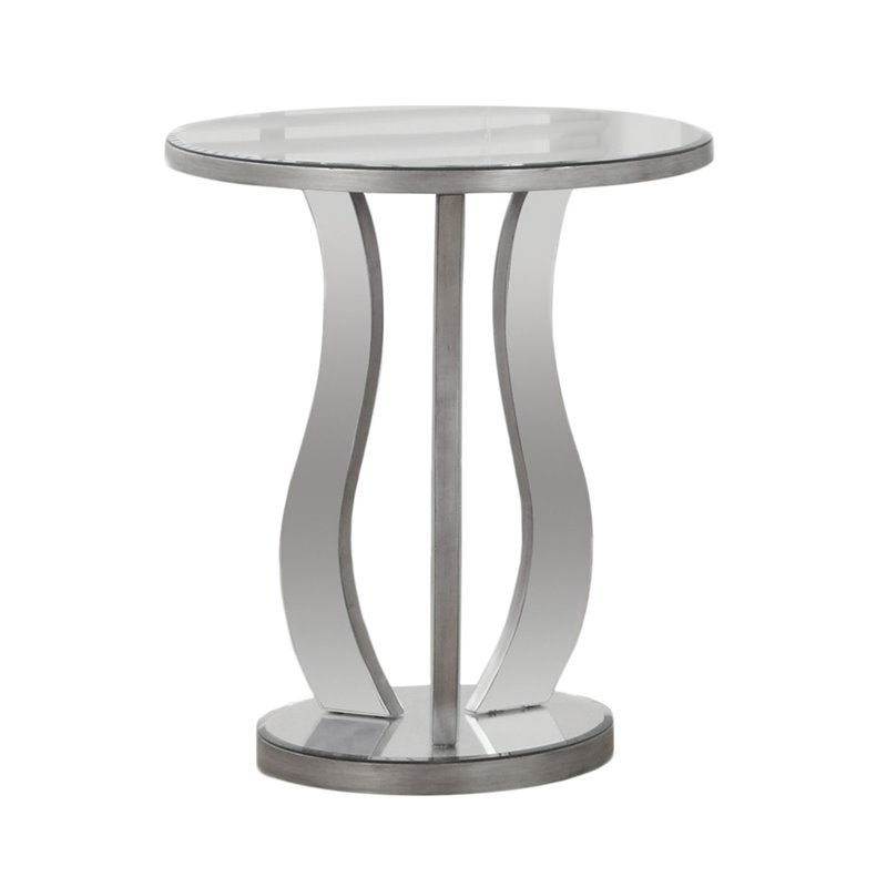 Mirrored End Table In Brushed Silver