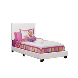Monarch Leather Upholstered Twin Bed in White