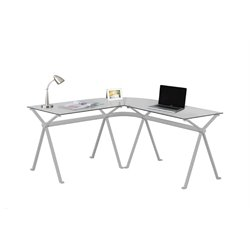 Trent Home Metal L Shaped Computer Desk in Silver