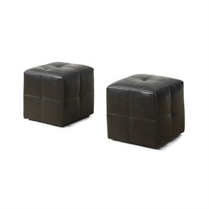 Leather Cube Ottoman in Dark Brown (Set of 2)