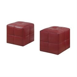Monarch Leather Cube Ottoman in Red (Set of 2)