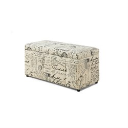 Trent Home Vintage French Print Storage Ottoman in Beige