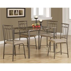5 Piece Faux Marble Top Dining Set in Cappuccino