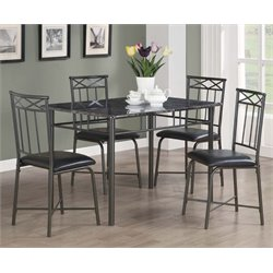 Monarch 5 Piece Faux Marble Top Dining Set in Gray