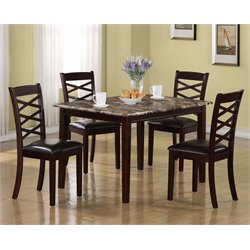 Monarch 5 Piece Faux Marble Top Dining Set in Dark Cherry