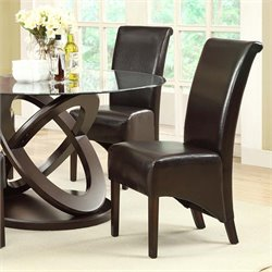Faux Leather Dining Chair in Dark Brown (Set of 2)
