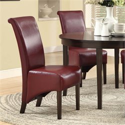 Monarch Faux Leather Dining Chair in Burgundy (Set of 2)