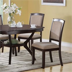 Monarch Dining Chair in Cappuccino and Beige (Set of 2)