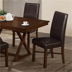 Monarch Faux Leather Dining Chair in Modern Oak and Brown (Set of 2)