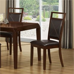 Monarch Faux Leather Dining Chair in Brown (Set of 2)