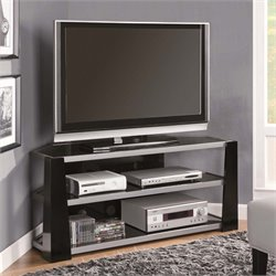 Monarch Corner Glass Metal TV Stand in Glossy Black and Silver