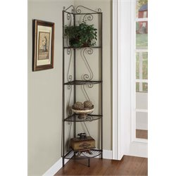Monarch 4 Shelf Corner Metal Etagere in Dark Copper Brown
