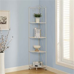Monarch 4 Shelf Corner Metal Etagere in White