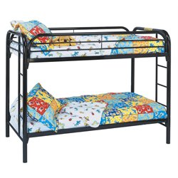 Monarch Twin Over Twin Metal Bunk Bed in Black