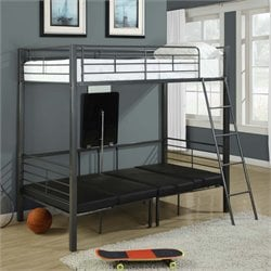 Monarch Adjustable Twin Over Twin Metal Bunk Bed in Charcoal Gray