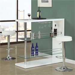 Monarch Home Bar in Chrome and Glossy White