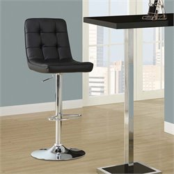 Monarch Adjustable Faux Leather Swivel Bar Stool in Black (Set of 2)