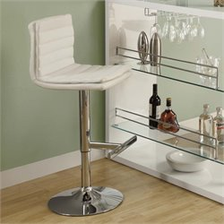 Adjustable Faux Leather Swivel Bar Stool in White (Set of 2)