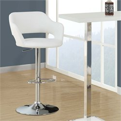 Monarch Adjustable Faux Leather Swivel Bar Stool in White