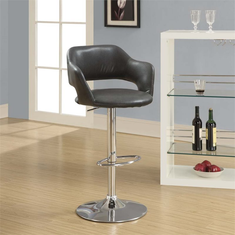 Adjustable Faux Leather Swivel Bar Stool In Charcoal Gray