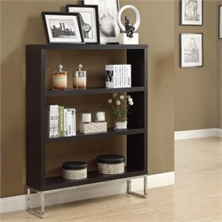 Monarch 3 Shelf Bookcase in Cappuccino and Chrome