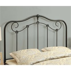 Monarch Full Queen Metal Slat Headboard in Coffee