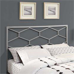 Full Queen Metal Headboard in Silver