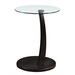 Monarch Round Glass Top Side Table in Cappuccino