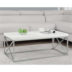 Coffee Table in Glossy White and Chrome