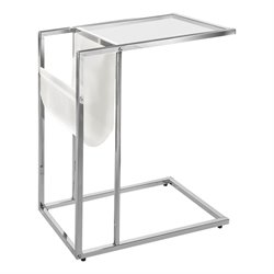 Glass Top Side Table with Magazine Rack in White and Chrome