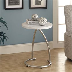 Round Accent Table in Glossy White and Chrome