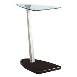 Monarch Glass Top Side Table in Glossy Black and Silver