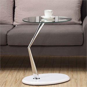 Glass Top Side Table in Glossy White and Chrome