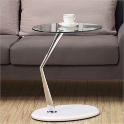 Monarch Glass Top Side Table in Glossy White and Chrome